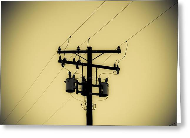 Duo Tone Greeting Cards - Telephone Pole 1 Greeting Card by Scott Campbell