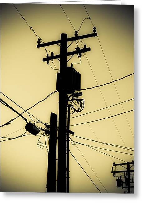 Duo Tone Greeting Cards - Telephone Pole 2 Greeting Card by Scott Campbell