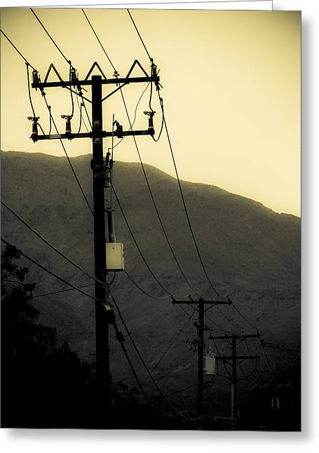 Duo Tone Greeting Cards - Telephone Pole 5 Greeting Card by Scott Campbell