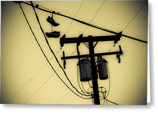 Telephone Pole And Sneakers 1 Greeting Card by Scott Campbell