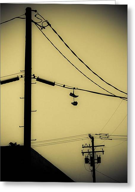 Telephone Pole And Sneakers 3 Greeting Card by Scott Campbell