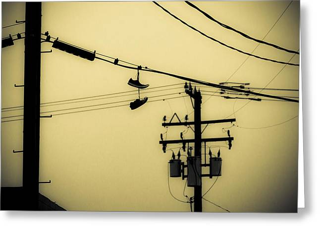 Duo Tone Greeting Cards - Telephone Pole and Sneakers 4 Greeting Card by Scott Campbell
