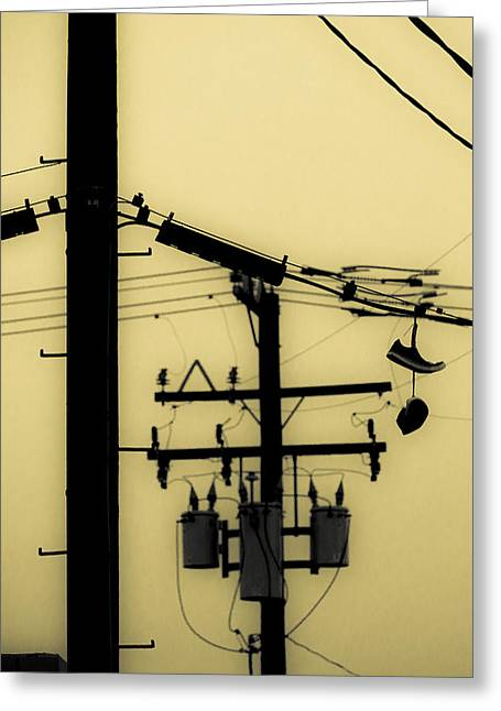 Recently Sold -  - Duo Tone Greeting Cards - Telephone Pole and Sneakers 5 Greeting Card by Scott Campbell