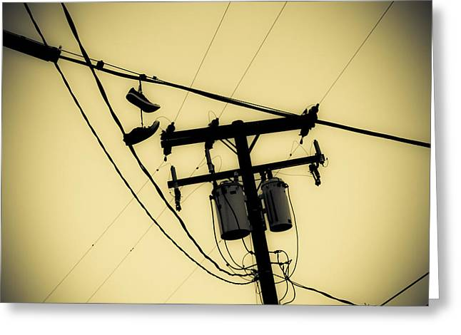 Duo Tone Greeting Cards - Telephone Pole and Sneakers 7 Greeting Card by Scott Campbell