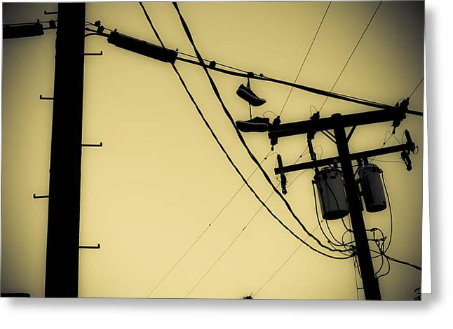 Duo Tone Greeting Cards - Telephone Pole and Sneakers 9 Greeting Card by Scott Campbell