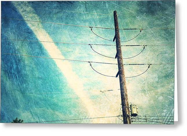 Electricity Greeting Cards - Telephone pole and wide contrail Greeting Card by Amy Cicconi