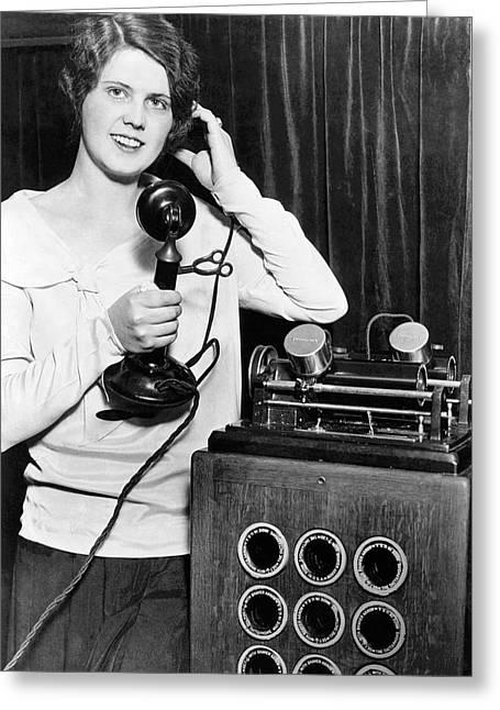 Telephone Recording Device Greeting Card by Underwood Archives