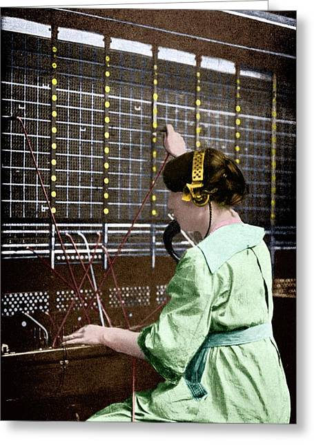 Telephone Switchboard Operator Greeting Card by Science Photo Library