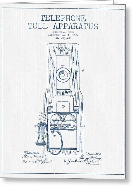 Telephone Greeting Cards - Telephone Toll Apparatus Patent Drawing From 1904 - Blue Ink Greeting Card by Aged Pixel