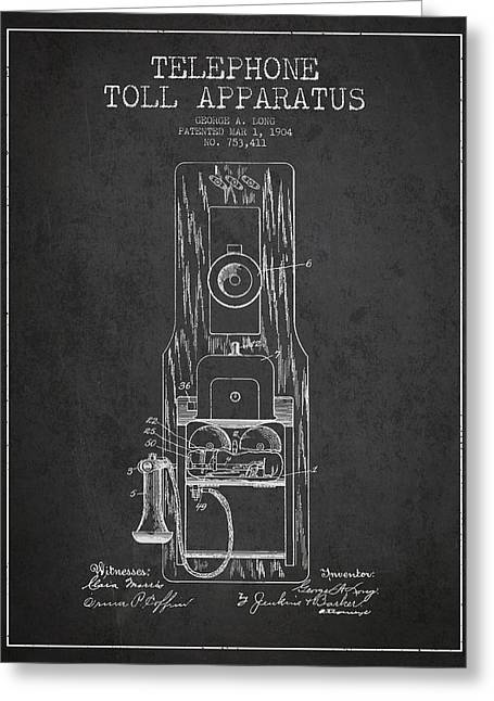 Calling Greeting Cards - Telephone Toll Apparatus Patent Drawing From 1904 - Dark Greeting Card by Aged Pixel
