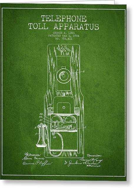 Telephone Greeting Cards - Telephone Toll Apparatus Patent Drawing From 1904 - Green Greeting Card by Aged Pixel