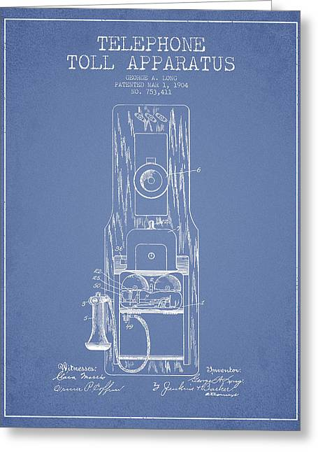 Telephone Greeting Cards - Telephone Toll Apparatus Patent Drawing From 1904 - Light Blue Greeting Card by Aged Pixel