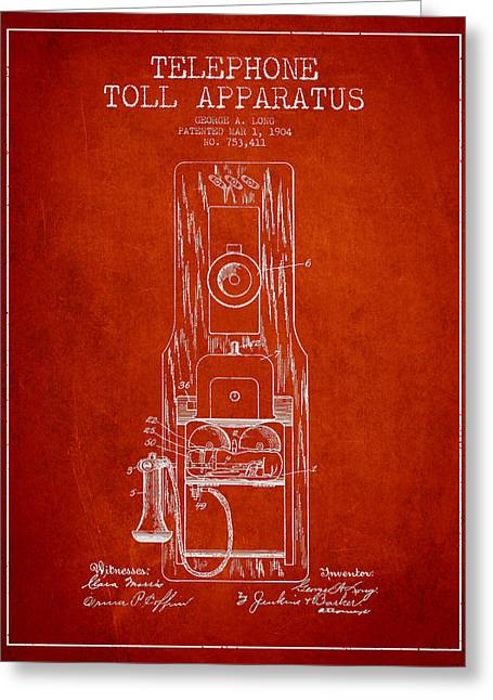 Telephone Greeting Cards - Telephone Toll Apparatus Patent Drawing From 1904 - Red Greeting Card by Aged Pixel