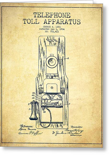 Telephone Greeting Cards - Telephone Toll Apparatus Patent Drawing From 1904 - Vintage Greeting Card by Aged Pixel