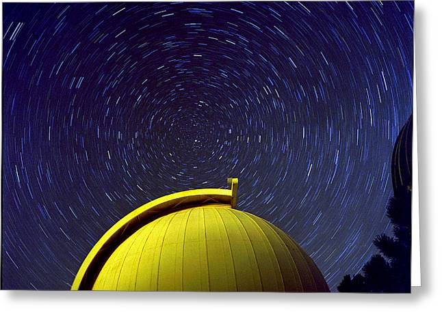 Telescope Dome Greeting Cards - Telescope Dome With Circumpolar Rotation Greeting Card by John Chumack