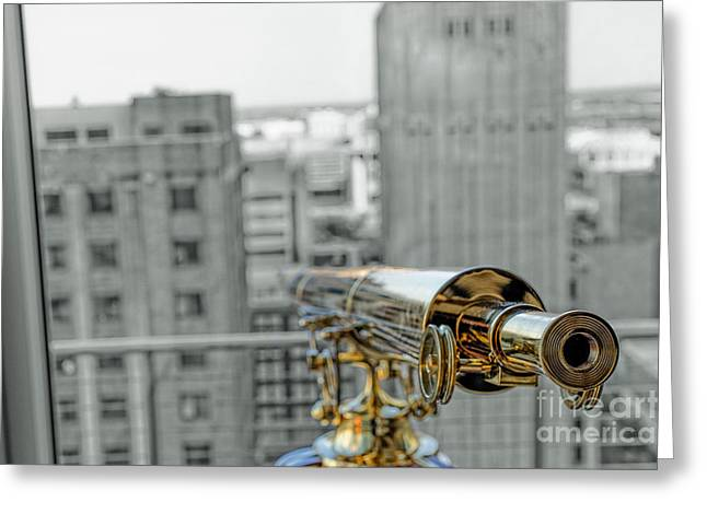 Dallas Pyrography Greeting Cards - Telescope Over Dallas Greeting Card by Nate Garner