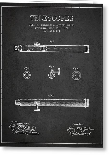 Telescopes Greeting Cards - Telescope patent from 1874 - Dark Greeting Card by Aged Pixel