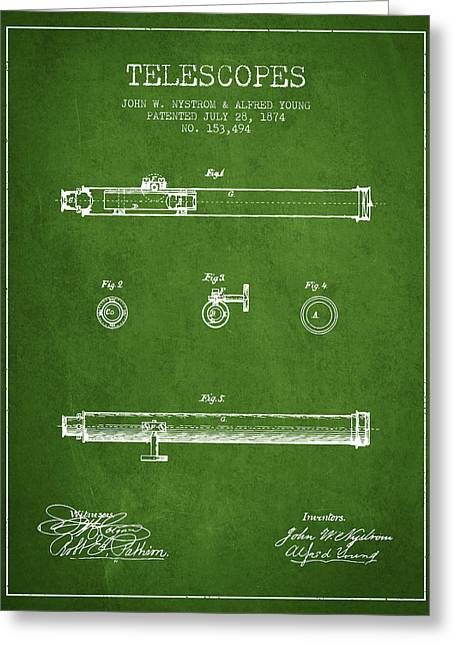 Telescopes Greeting Cards - Telescope patent from 1874 - Green Greeting Card by Aged Pixel