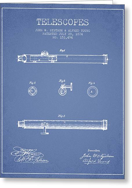 Telescopes Greeting Cards - Telescope patent from 1874 - Light Blue Greeting Card by Aged Pixel