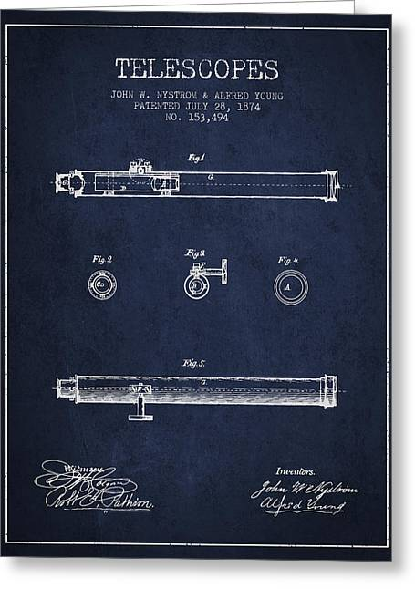 Telescopes Greeting Cards - Telescope patent from 1874 - Navy Blue Greeting Card by Aged Pixel