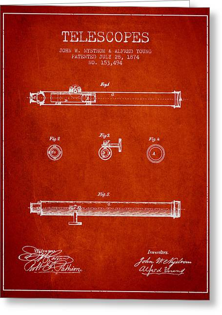 Telescopes Greeting Cards - Telescope patent from 1874 - Red Greeting Card by Aged Pixel