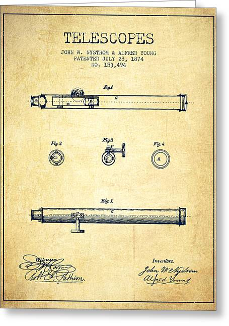 Telescopes Greeting Cards - Telescope patent from 1874 - Vintage Greeting Card by Aged Pixel