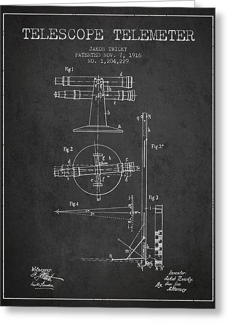 Telescopes Greeting Cards - Telescope Telemeter Patent from 1916 - Charcoal Greeting Card by Aged Pixel