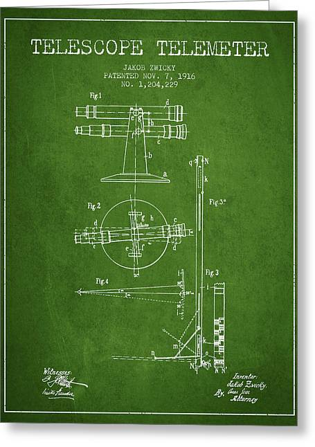 Telescopes Greeting Cards - Telescope Telemeter Patent from 1916 - Green Greeting Card by Aged Pixel