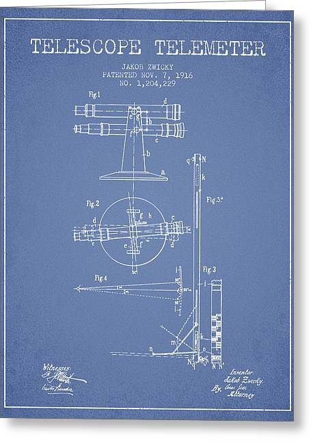 Telescopes Greeting Cards - Telescope Telemeter Patent from 1916 - Light Blue Greeting Card by Aged Pixel