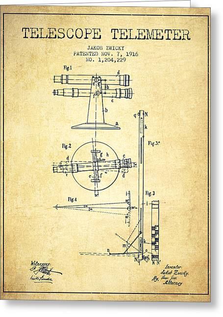 Telescopes Greeting Cards - Telescope Telemeter Patent from 1916 - Vintage Greeting Card by Aged Pixel