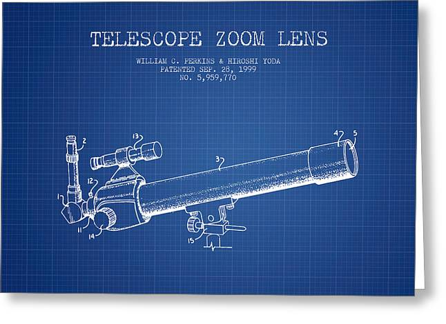 Telescopes Greeting Cards - Telescope Zoom Lens Patent from 1999 - Blueprint Greeting Card by Aged Pixel