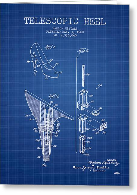 Lace Shoes Greeting Cards - Telescopic Heel Patent from 1960 - Blueprint Greeting Card by Aged Pixel