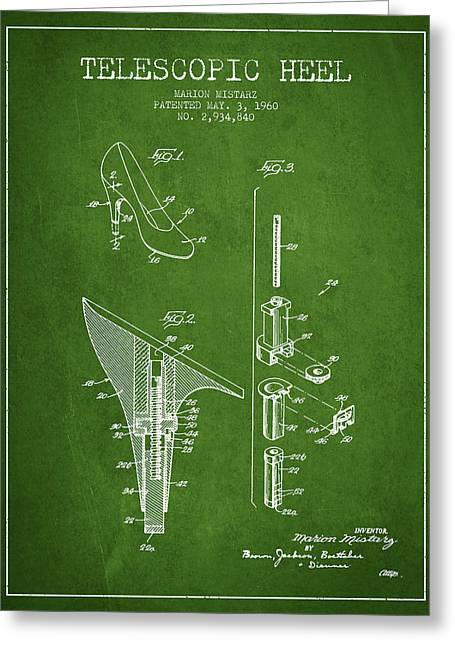 Vintage Shoes Greeting Cards - Telescopic Heel Patent from 1960 - Green Greeting Card by Aged Pixel