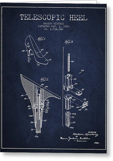 Lace Shoes Greeting Cards - Telescopic Heel Patent from 1960 - Navy Blue Greeting Card by Aged Pixel