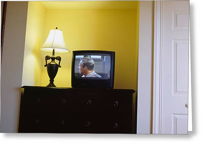 Television And Lamp In A Hotel Room Greeting Card by Panoramic Images