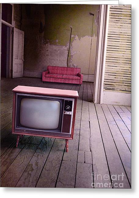 Screen Doors Greeting Cards - Television in old abandoned building Greeting Card by Jill Battaglia