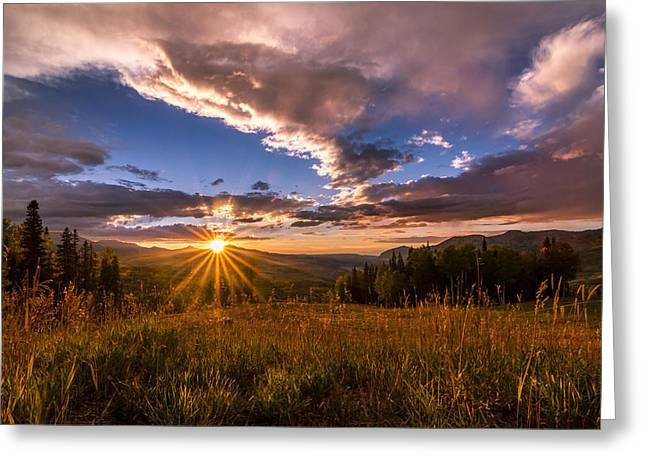 Rocky Mountains Greeting Cards - Telluride Mountain Sunset Greeting Card by Michael J Bauer