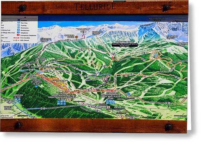 Ski Village Greeting Cards - Telluride Ski Map Detail  Greeting Card by David Lee Thompson