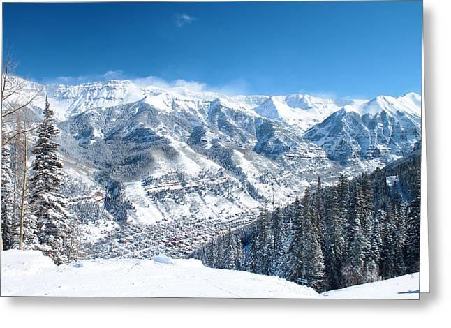 Telluride Greeting Cards - Telluride Snowscape Greeting Card by Saya Studios
