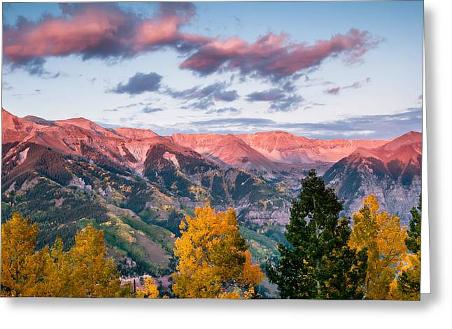 Photogaph Greeting Cards - Telluride Sunset Two Greeting Card by Josh Whalen