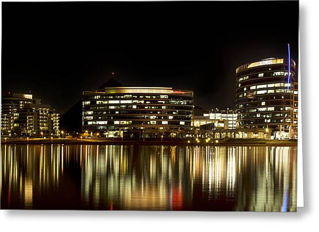 Phoenix Framed Prints Greeting Cards - Tempe Town Lake At Night Panorama  Greeting Card by K D Graves