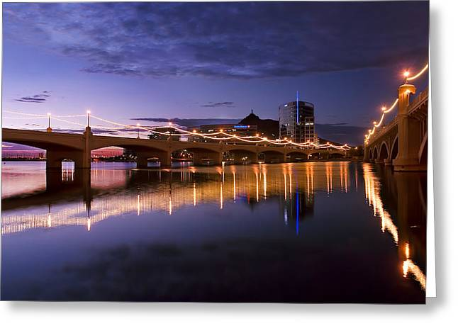 Asu Greeting Cards - Tempe Town Lake Blues Greeting Card by Dave Dilli