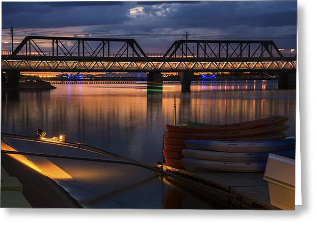 Reflecting Sunset Greeting Cards - Tempe Town Lake Canoes at Sunset Greeting Card by Dave Dilli