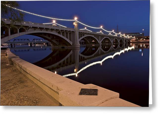 Asu Greeting Cards - Tempe Town Lake Lights Greeting Card by Dave Dilli