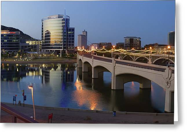 Desert Lake Greeting Cards - Tempe Town Lake Pano Greeting Card by Dave Dilli