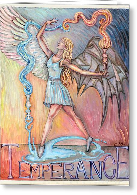 Lady Glass Greeting Cards - Temperance Greeting Card by Carl Geenen