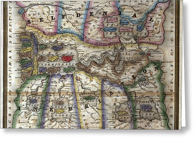 Losing Control Greeting Cards - Temperance Map 1838 Greeting Card by Compass Rose Maps