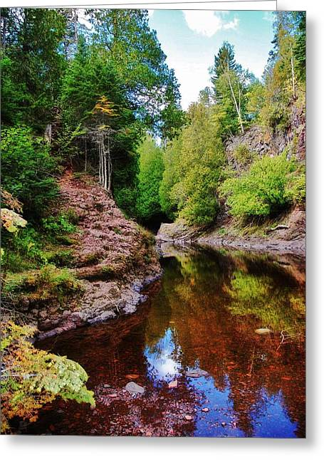 Beautiful Creek Mixed Media Greeting Cards - Temperance River Greeting Card by Todd and candice Dailey