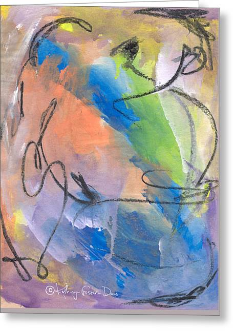 Improvisation Greeting Cards - Tempest Greeting Card by Kathryn Foster