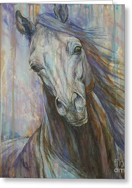 Horses Paintings Greeting Cards - Tempest Greeting Card by Silvana Gabudean